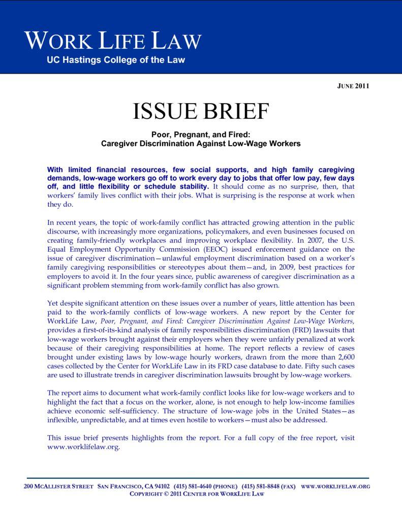 Issue Brief: Poor, Pregnant, and Fired: Caregiver Discrimination ...
