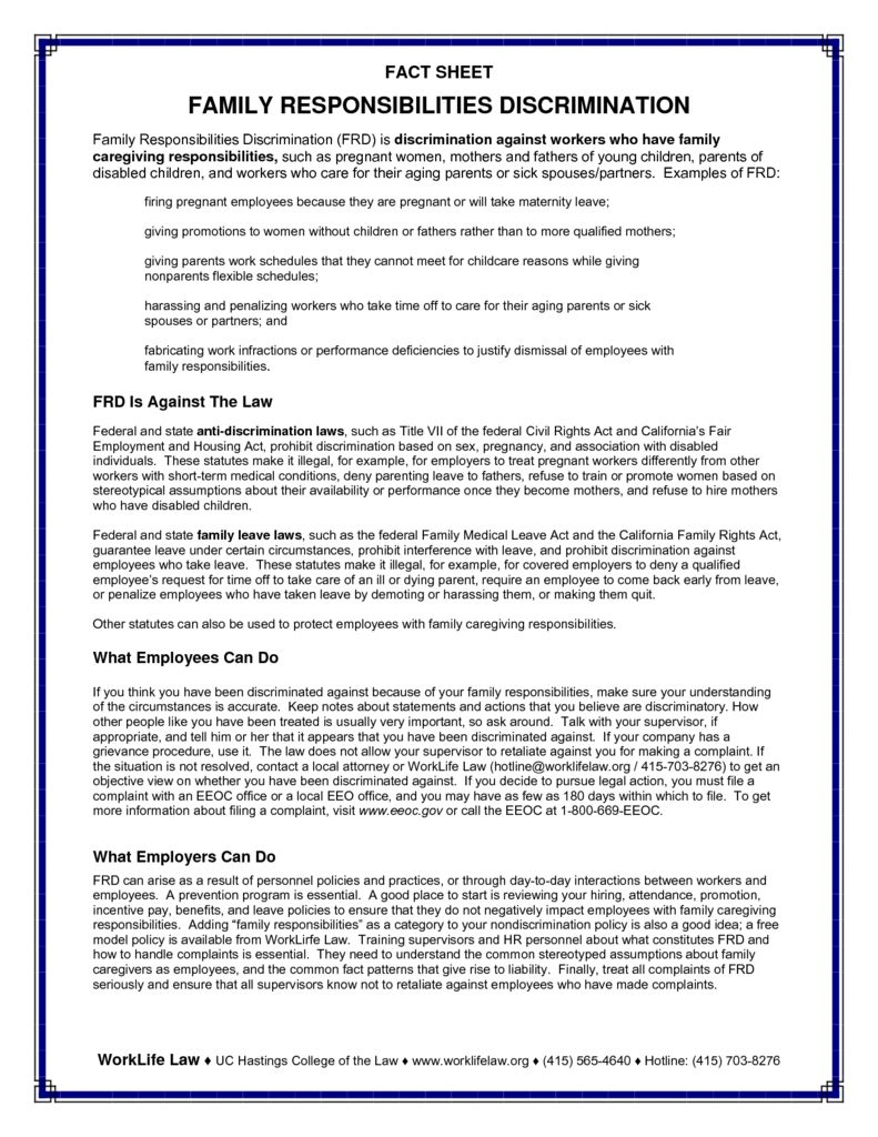 pregnancy discrimination act & fmla discrimination The two other federal laws that can apply to pregnancy discrimination are the family medical leave act (fmla) and the americans with disabilities act (ada) federal fmla law provides protections for expecting and new parents, including a right to unpaid leave if the employee meets certain qualifications.