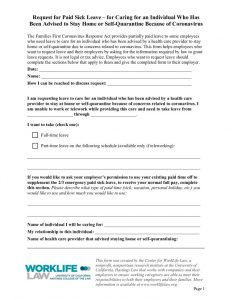 thumbnail of Paid Leave Request Form – Caring for Individual Advised to Self-Quarantine