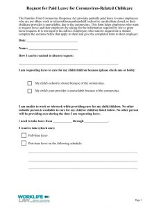 thumbnail of Paid Leave Request Form – Coranavirus-Related Childcare